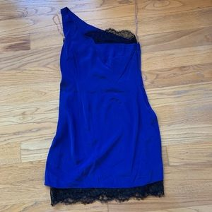 NWT Madison Marcus Blue One-Shoulder Dress w/ Lace